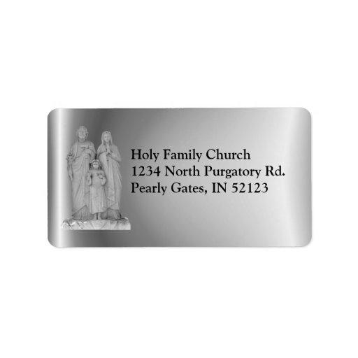 Etiqueta santa del ~ de la familia etiqueta de dirección