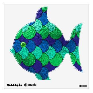 Etiqueta Scaley azul y verde de la pared de los pe Vinilo