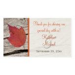 Etiqueta secada del favor del boda de la hoja del  plantilla de tarjeta personal
