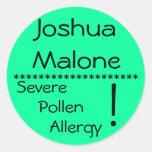 Etiqueta severa de la alergia del polen **