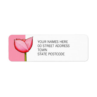 Etiqueta simple del remite del rosa de las flores etiqueta de remite