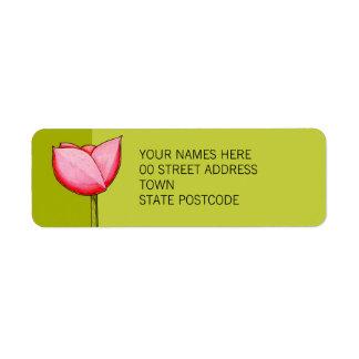 Etiqueta simple del remite del verde de las flores etiqueta de remite