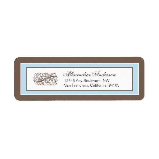 Etiqueta simplemente elegante del remite (marrón/a etiqueta de remite