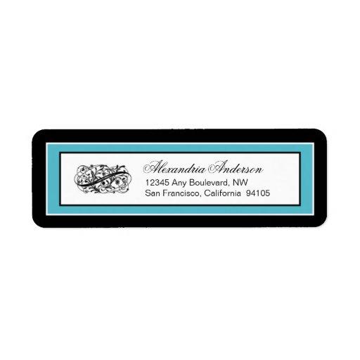 Etiqueta simplemente elegante del remite (negro/ag etiqueta de remitente