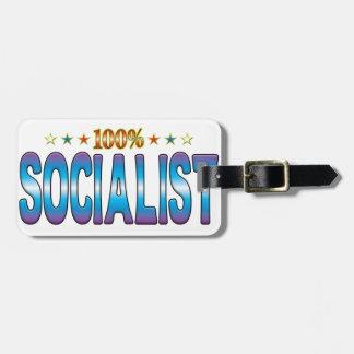Etiqueta socialista v2 de la estrella etiqueta de equipaje