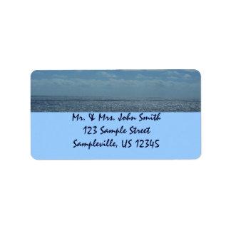 Etiqueta soleada del remite del mar del Caribe Etiqueta De Dirección