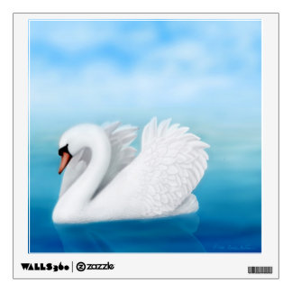 Etiqueta solitaria de la pared del cisne mudo vinilo adhesivo