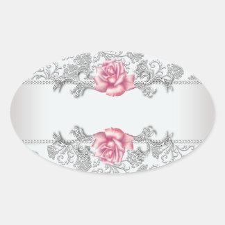 Etiqueta subió rosa blanco del pegatina del sello