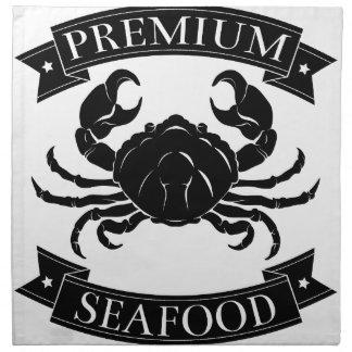 Etiqueta superior del marisco servilleta imprimida