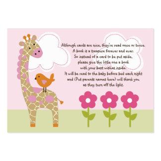 Etiqueta/tarjeta del favor de la jirafa del chica  tarjetas de visita grandes