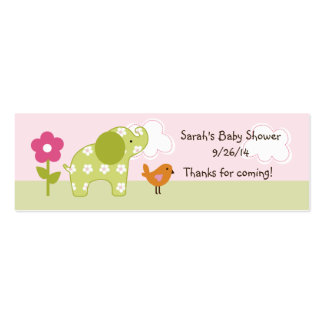 Etiqueta/tarjeta del favor del elefante del chica tarjetas de visita mini