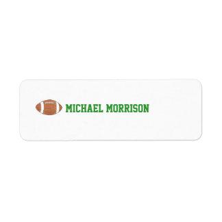 Etiqueta temática de la identificación del fútbol etiqueta de remitente