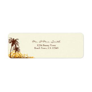 Etiqueta temática del remite de la playa etiquetas de remite