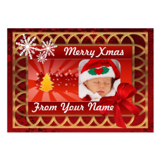 Etiqueta tradicional del navidad del photocard del tarjetas de visita grandes