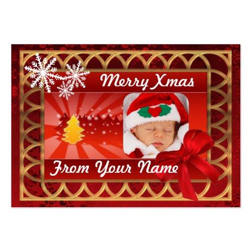 Etiqueta tradicional del navidad del photocard del tarjetas personales