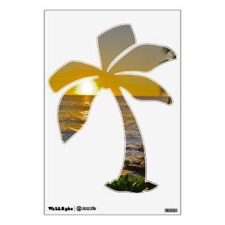 Etiqueta tropical de la pared de la palmera de la