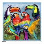 Etiqueta tropical de la pared de los pájaros