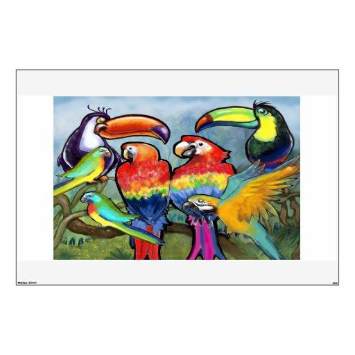 Etiqueta tropical de la pared de los pájaros vinilo adhesivo