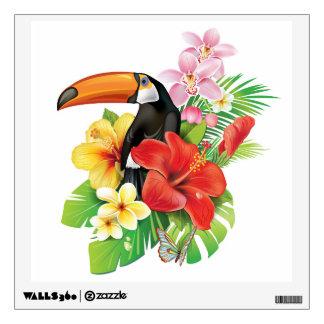 Etiqueta tropical de la pared del collage de