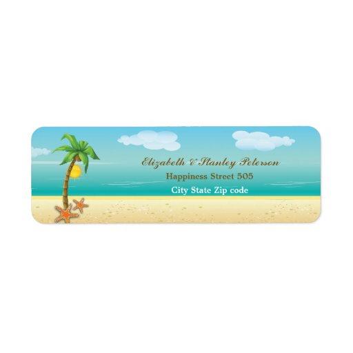 Etiqueta tropical del boda de playa de la palmera  etiquetas de remite