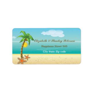 Etiqueta tropical del boda de playa de la palmera  etiquetas de dirección