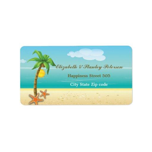 Etiqueta tropical del boda de playa de la palmera etiqueta de dirección