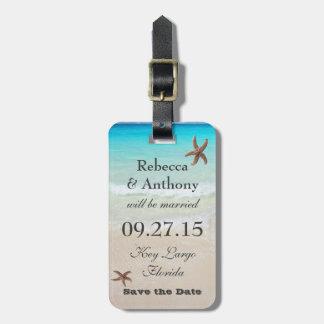 Etiqueta tropical del equipaje del boda del etiquetas de maletas