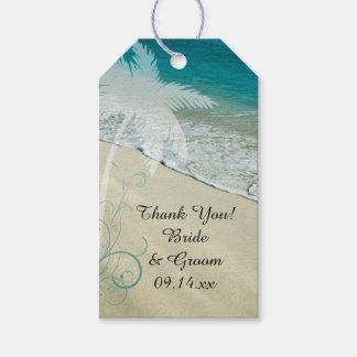Etiqueta tropical del favor del boda de playa etiquetas para regalos