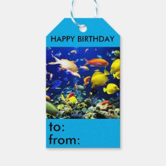 Etiqueta tropical del regalo de cumpleaños del etiquetas para regalos