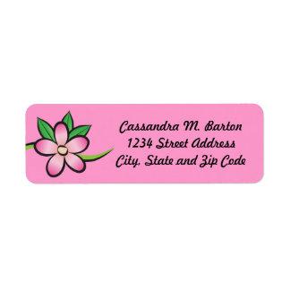Etiqueta tropical del remite del rosa de la flor etiquetas de remite