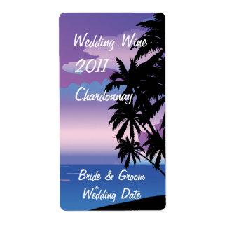 Etiqueta tropical del vino del boda de la noche etiquetas de envío