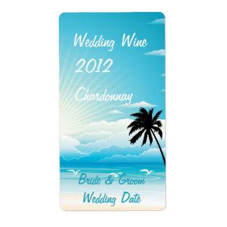 Etiqueta tropical del vino del boda de playa etiquetas de envío