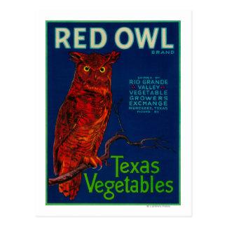 Etiqueta vegetal del búho rojo postales