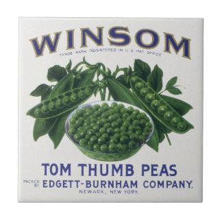 Etiqueta vegetal del vintage Guisantes del pulgar Tejas Ceramicas