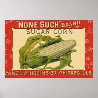 Etiqueta vegetal del vintage ninguna tal maíz de poster