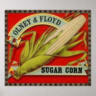 Etiqueta vegetal del vintage; Olney y maíz de azúc Poster