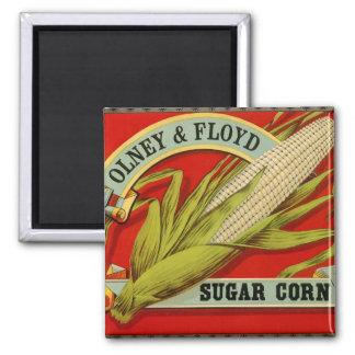 Etiqueta vegetal del vintage, Olney y maíz de Imán Cuadrado