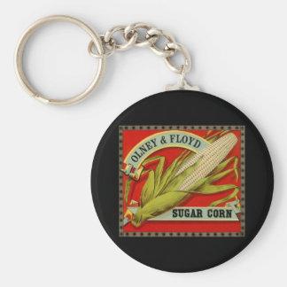 Etiqueta vegetal del vintage, Olney y maíz de Llavero Redondo Tipo Pin