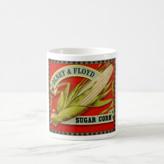 Etiqueta vegetal del vintage, Olney y maíz de Taza