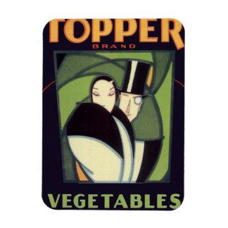Etiqueta vegetal del vintage, par del art déco, imanes de vinilo