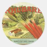 Etiqueta vegetal del vintage, ruibarbo y una granj
