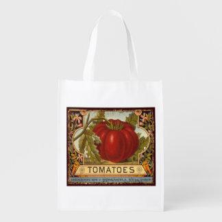 Etiqueta vegetal del vintage, tomate, bolso de bolsa para la compra