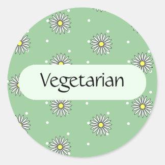 Etiqueta vegetariana de la comida para las comidas