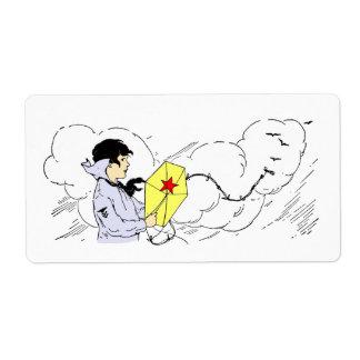 Etiqueta ventosa del día del vuelo de la cometa etiqueta de envío