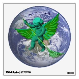 Etiqueta verde arrebatadora de la pared de la paz