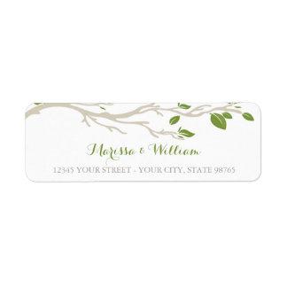 Etiqueta verde/beige de la rama de árbol elegante etiqueta de remite