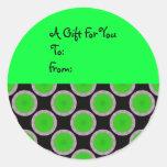 Etiqueta verde clara del regalo de los círculos