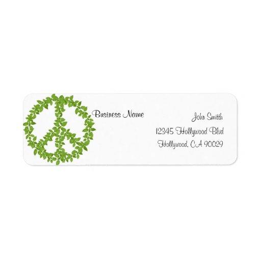Etiqueta verde de la dirección comercial del signo etiqueta de remitente