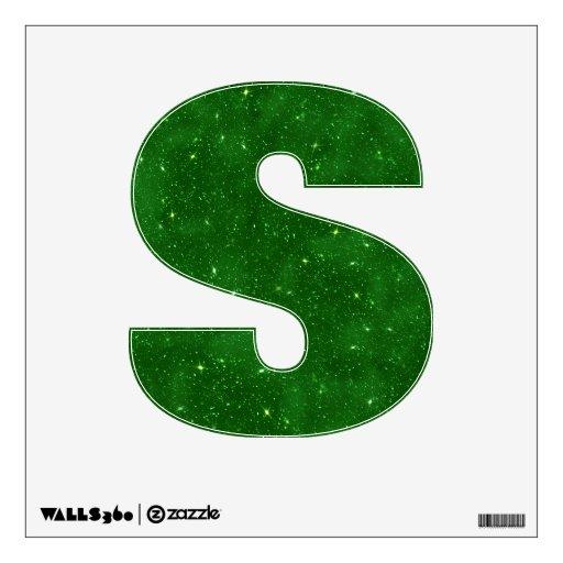 Etiqueta verde de la letra S del brillo - alfabeto