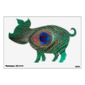 Etiqueta verde de la pared del cerdo de la pluma d vinilo decorativo